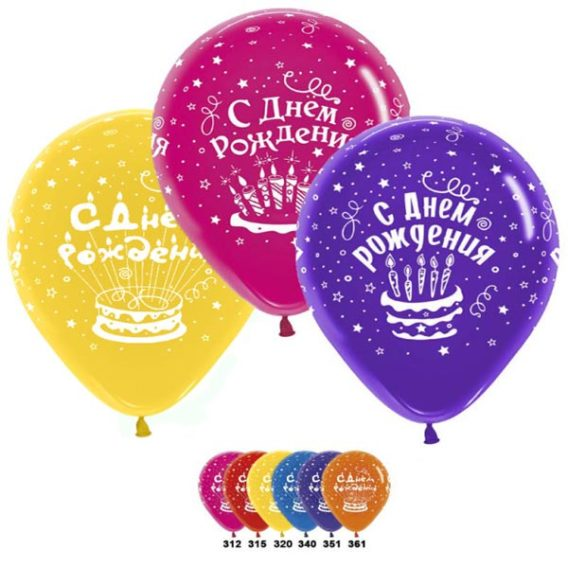 """Шар """"С днём рождения 3 торта"""""""